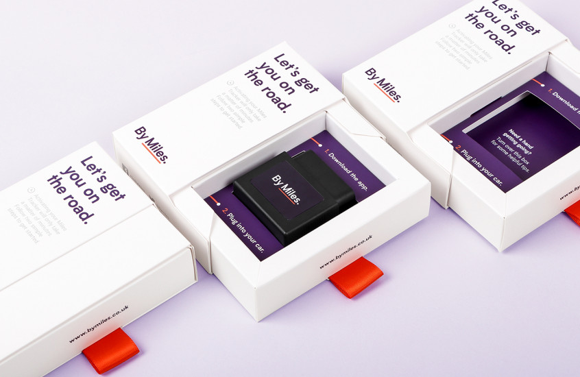 By Miles - Car Insurance Tracker — Packaging designed for the smart pay-per-mile car insurance tracker.