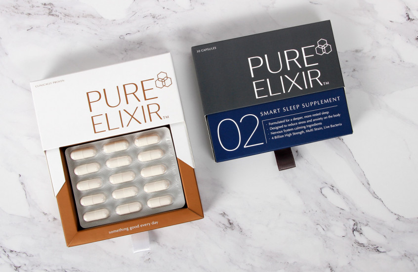 Pure Elixir - Smart Sleep & Beauty Age Supplements — Luxurious beauty supplement packaging including metallic inks and ribbon opening tags for maximum visual impact.