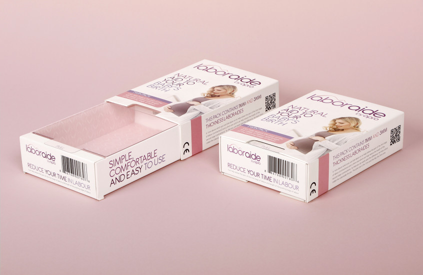 Opro - Laboraide — Retail packaging for Opro's natural birth aide device.