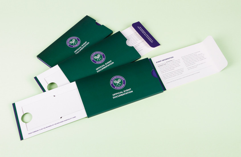 Wimbledon Championships - Hospitality Pack — Our compact design for the Wimbledon Event pack presented your ticket while simultaneously displaying all the important information attendees would need for a memorable day at the Wimbledon Championships.